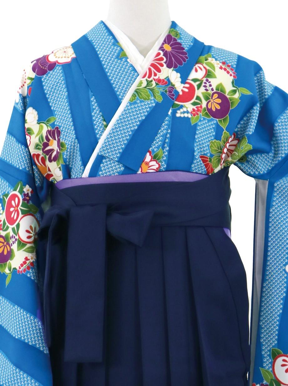 青の縞に花の丸文、紺袴(無地)(二尺袖)/卒業式