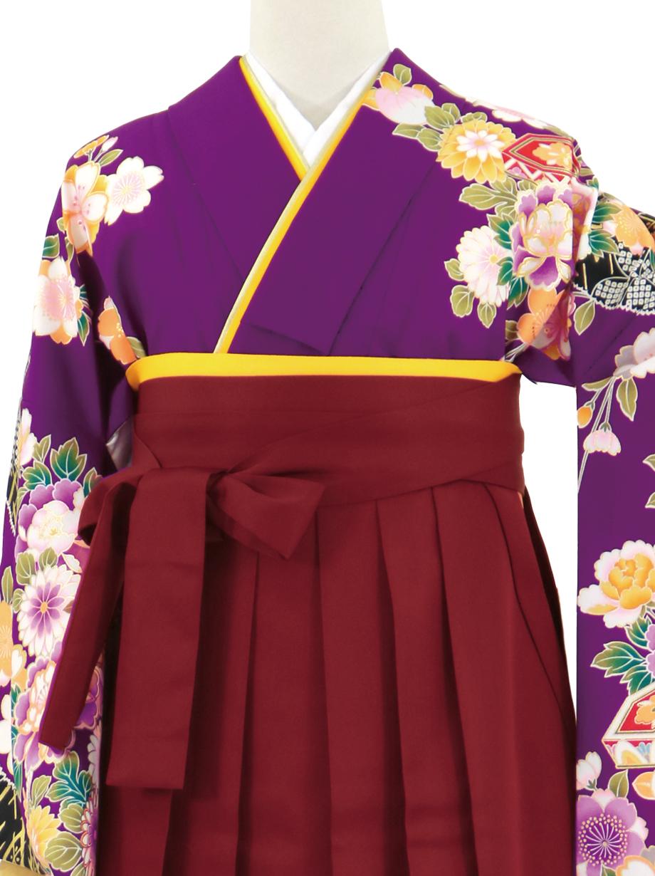 紫地に貝桶と花尽くし、臙脂袴(無地)(二尺袖)/卒業式