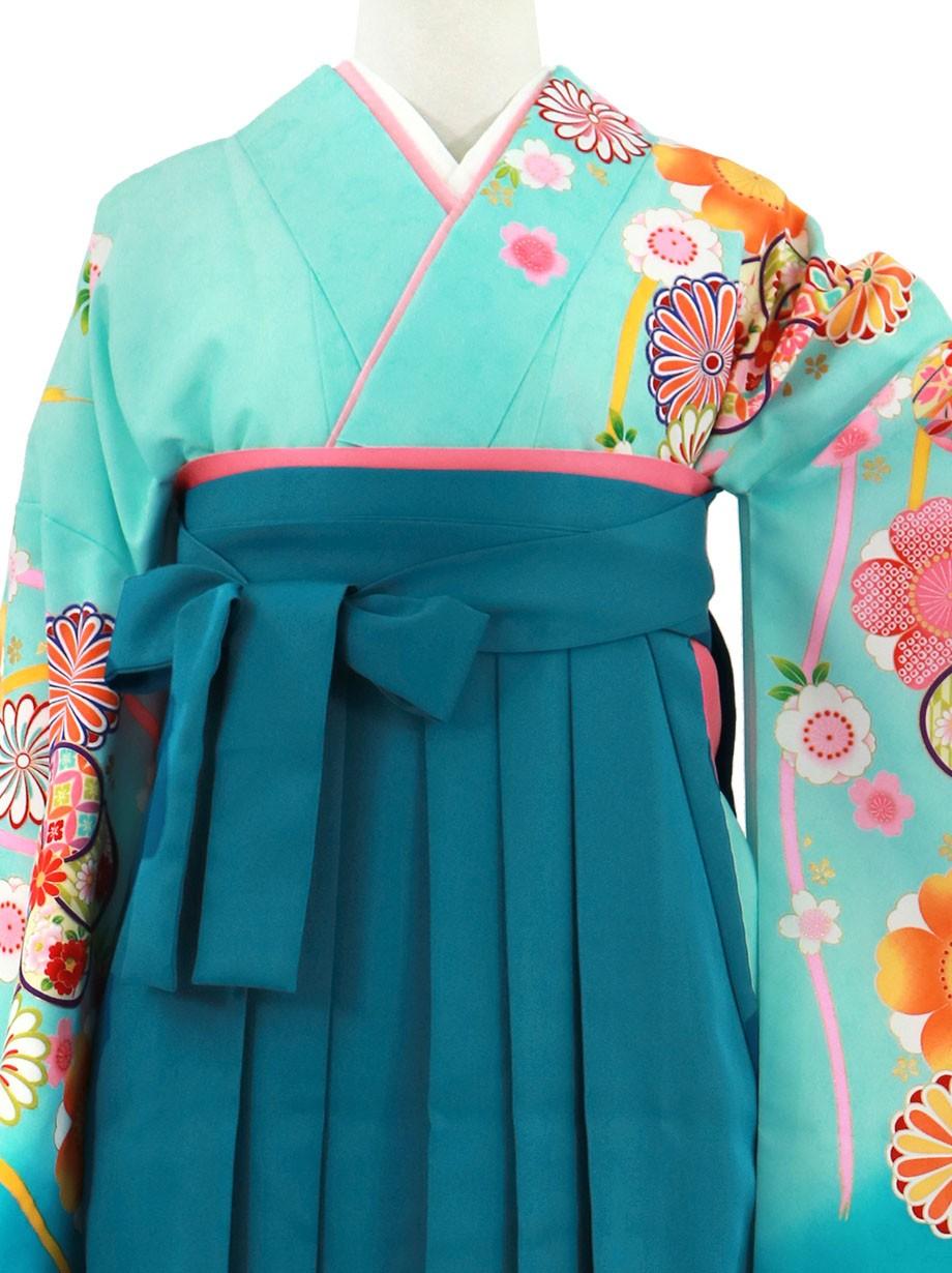 水色地に桜と鞠、青袴(無地)(二尺袖)/卒業式