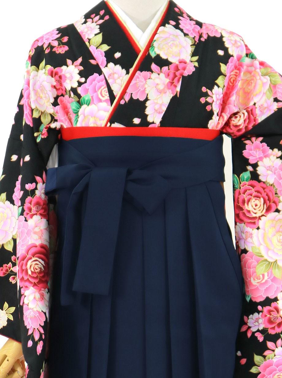 黒地に牡丹づくし、紺袴(無地)(二尺袖)/卒業式