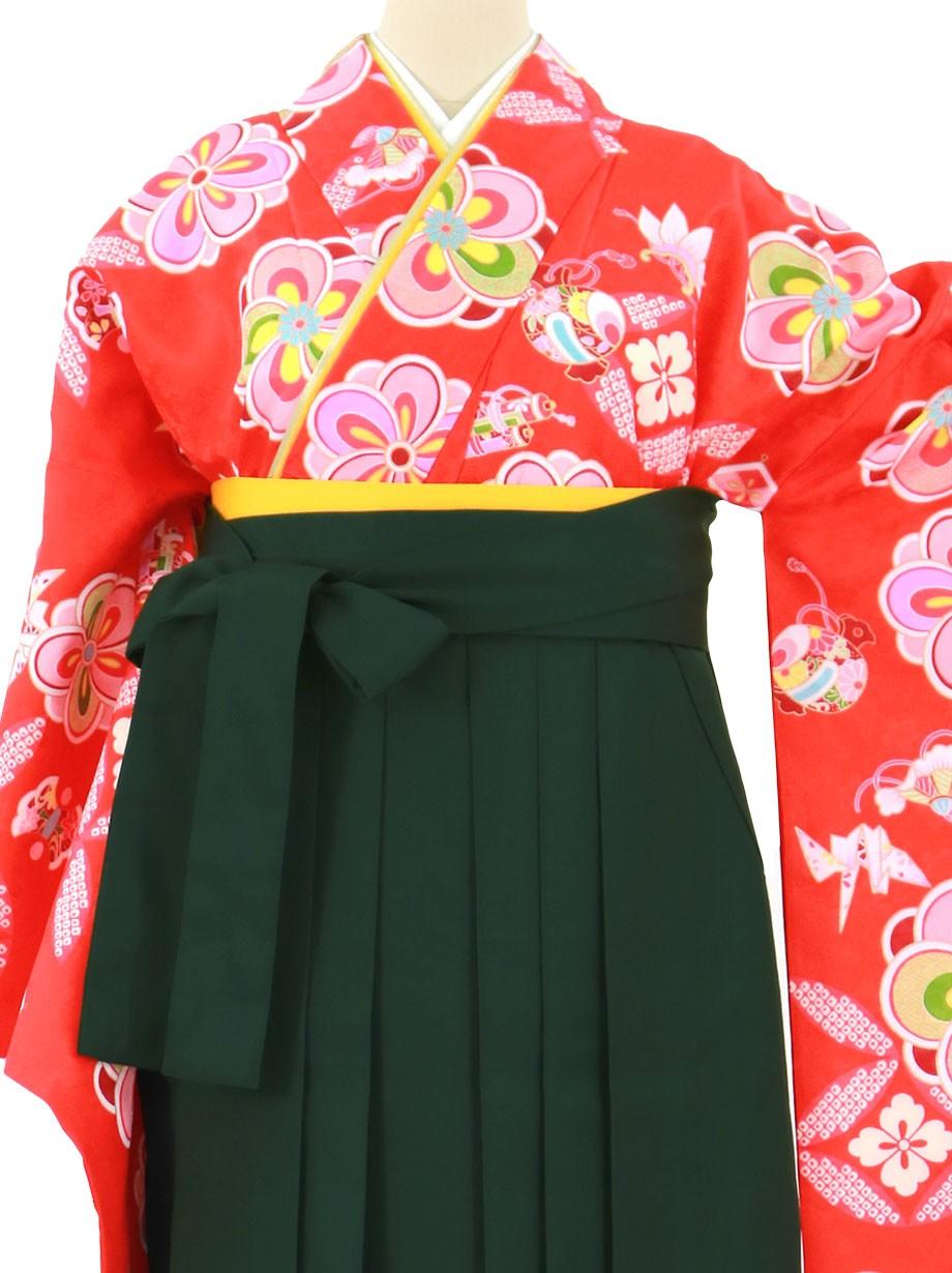 赤地に梅と宝尽くし文、深緑袴(無地)(二尺袖)/卒業式