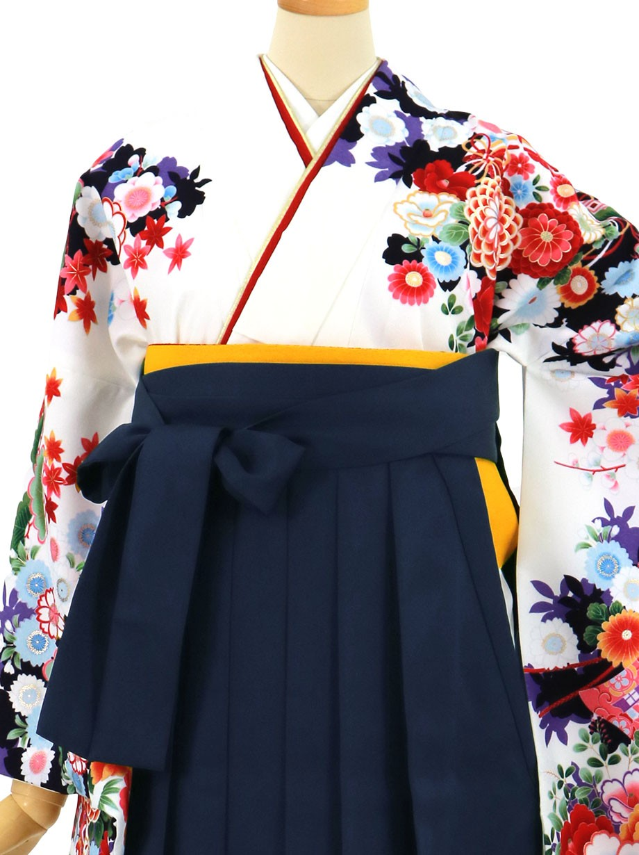 白地に几帳と花尽くし、紺袴(無地)(二尺袖)/卒業式