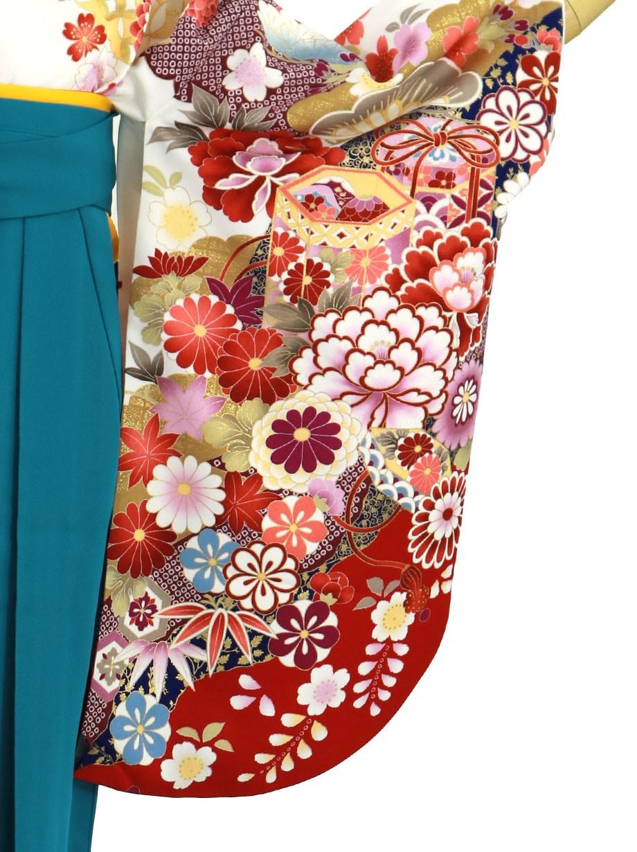 白地に貝桶と四季花、青袴(無地)(二尺袖)/卒業式