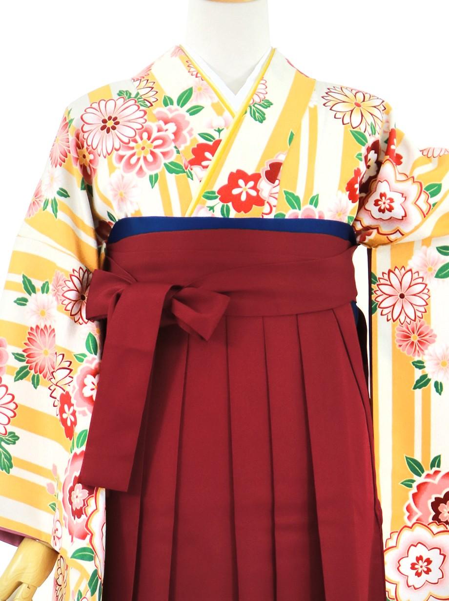 黄色と白の縞に花、臙脂袴(無地)(二尺袖)/卒業式