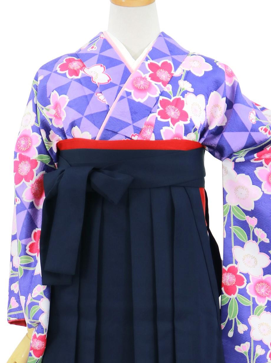 紫の鱗文に桜、紺袴(無地)(二尺袖)/卒業式