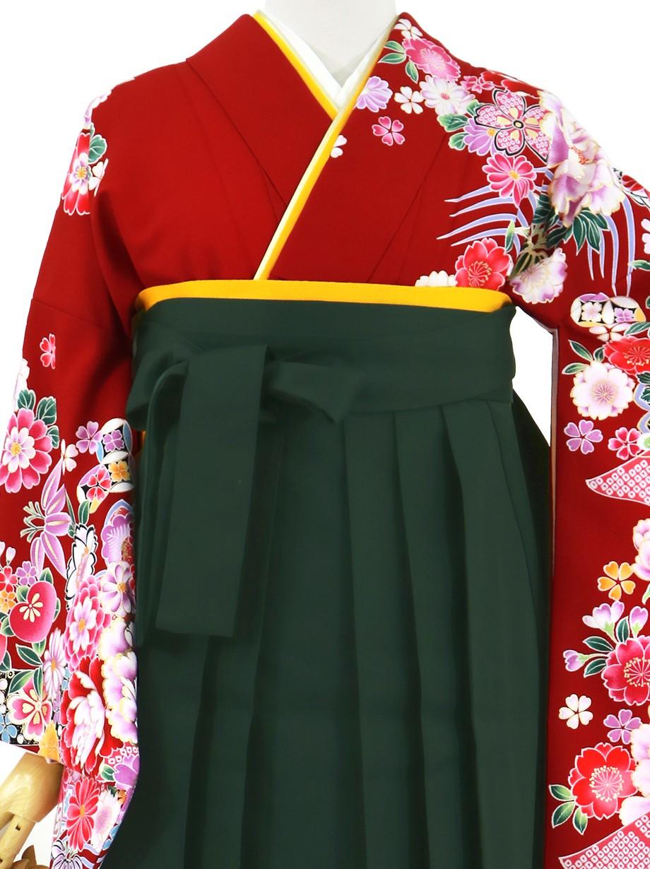赤地に牡丹と四季花、深緑袴(無地)(二尺袖)/卒業式