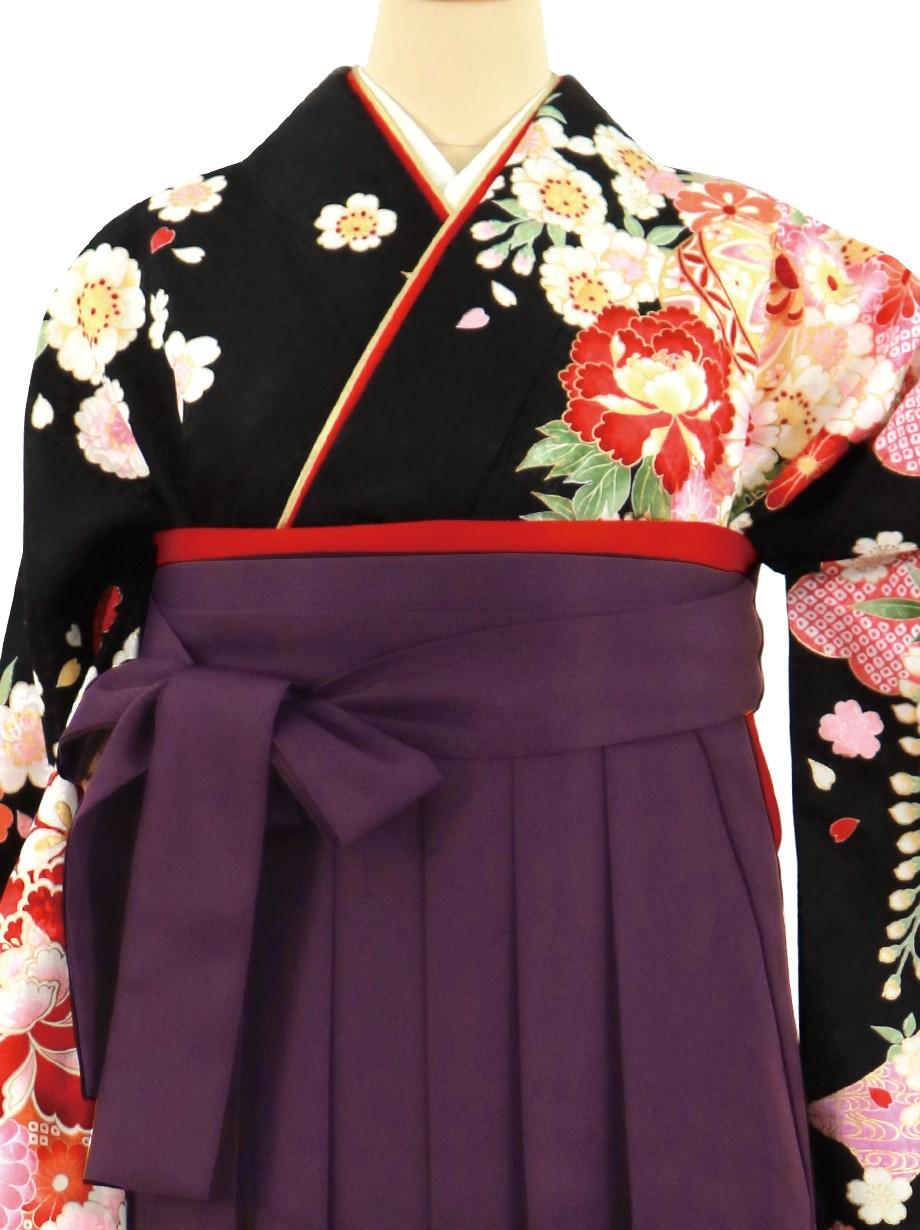 黒地に牡丹と短冊、紫袴(無地)(二尺袖)/卒業式