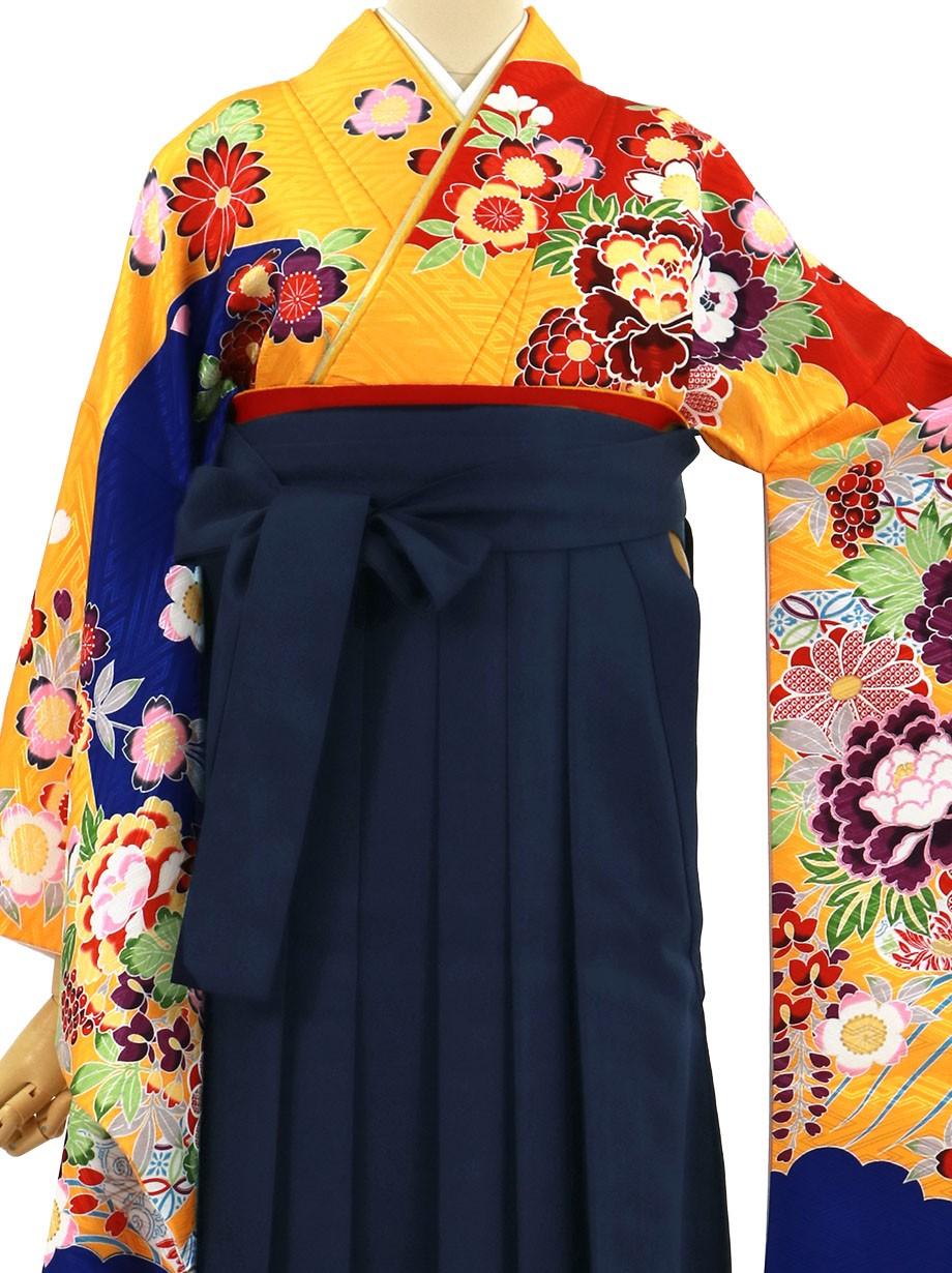 山吹色の紅型風の二尺袖・紺袴(無地)(二尺袖)/卒業式