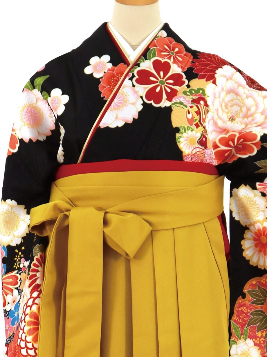 黒地に大輪の牡丹、マスタード袴(無地)(二尺袖)/卒業式