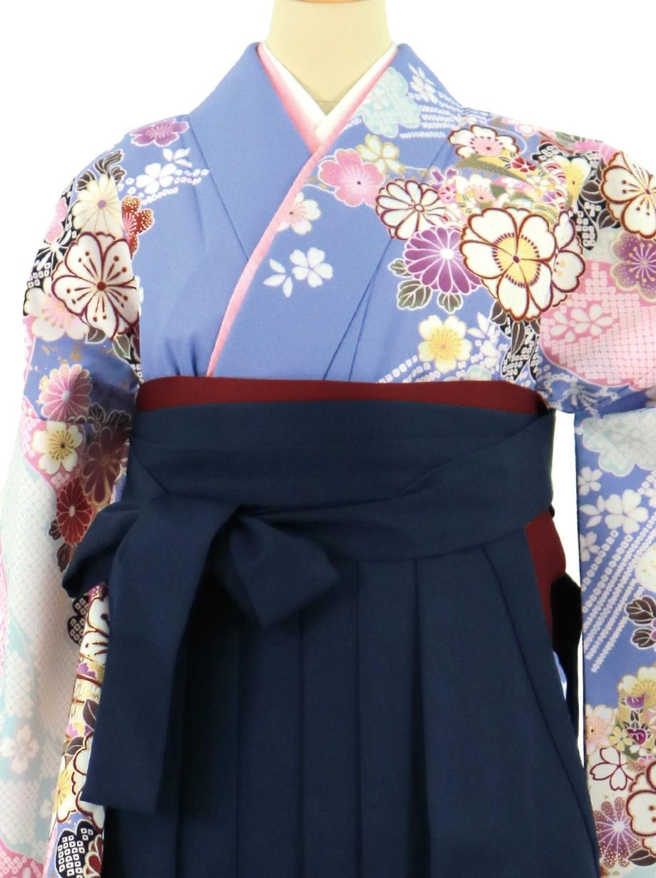藤色地に桜と御所車、紺袴(無地)(二尺袖)/卒業式*