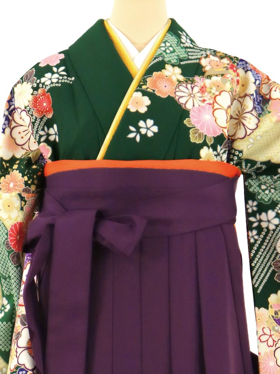 グリーン地に桜と御所車、紫袴(無地)(二尺袖)/卒業式*