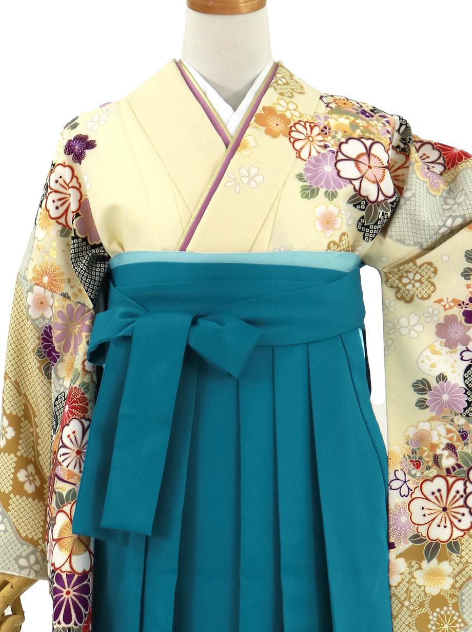 ベージュ地に桜と御所車、青袴(無地)(二尺袖)/卒業式
