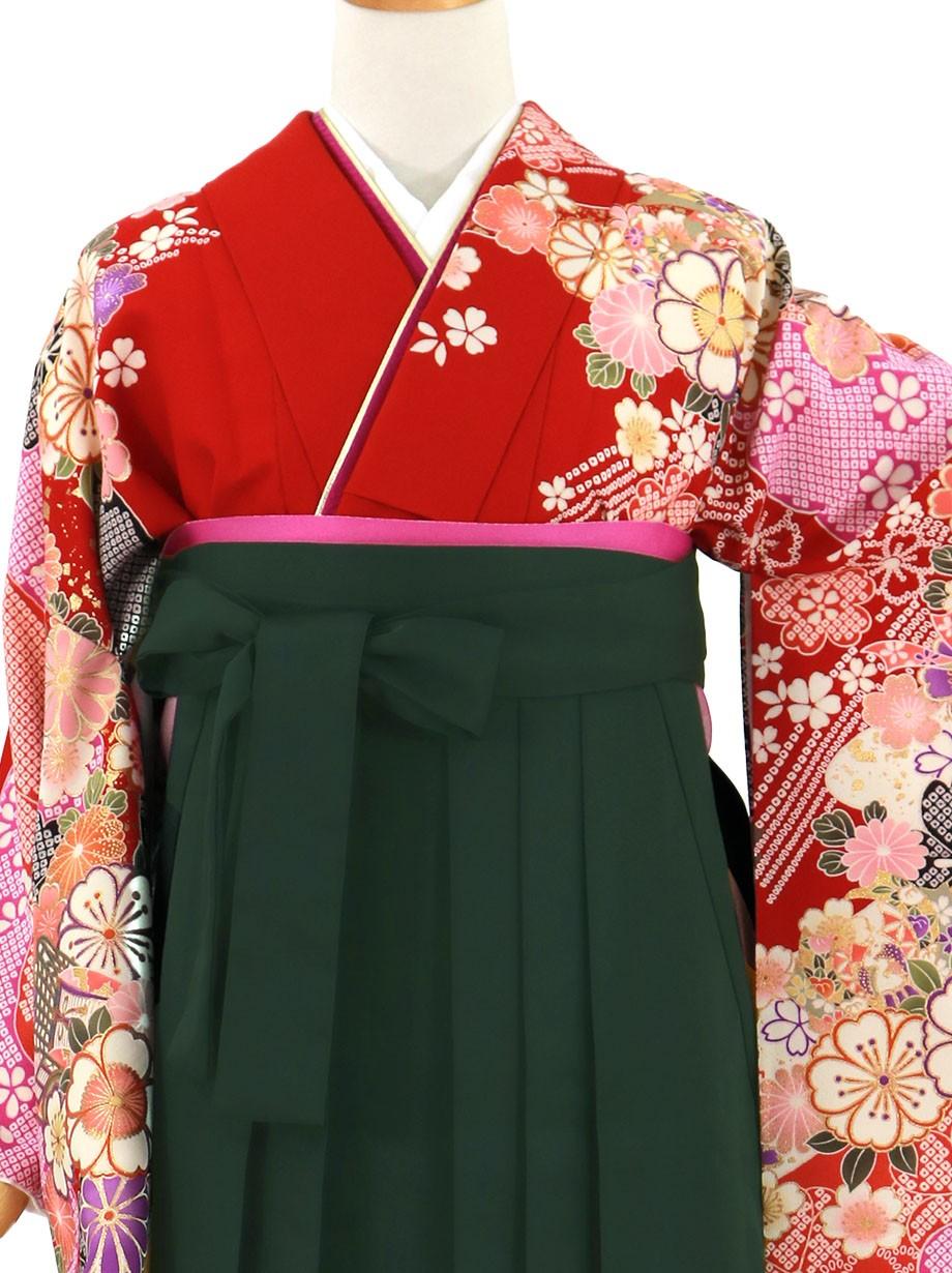 赤地に桜と御所車、深緑袴(無地)(二尺袖)/卒業式*
