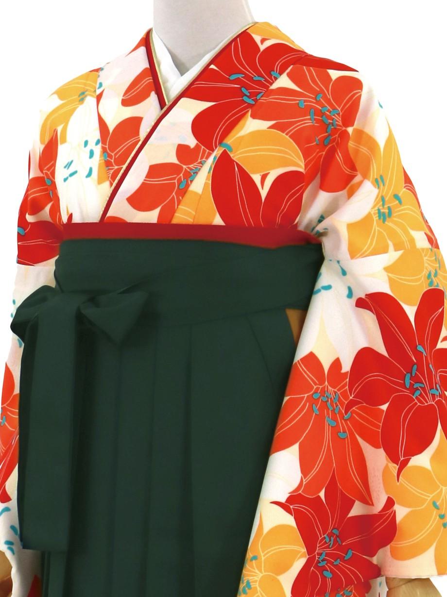 白地に紅白、山吹色の百合づくし・深緑袴(無地)(二尺袖)/卒業式