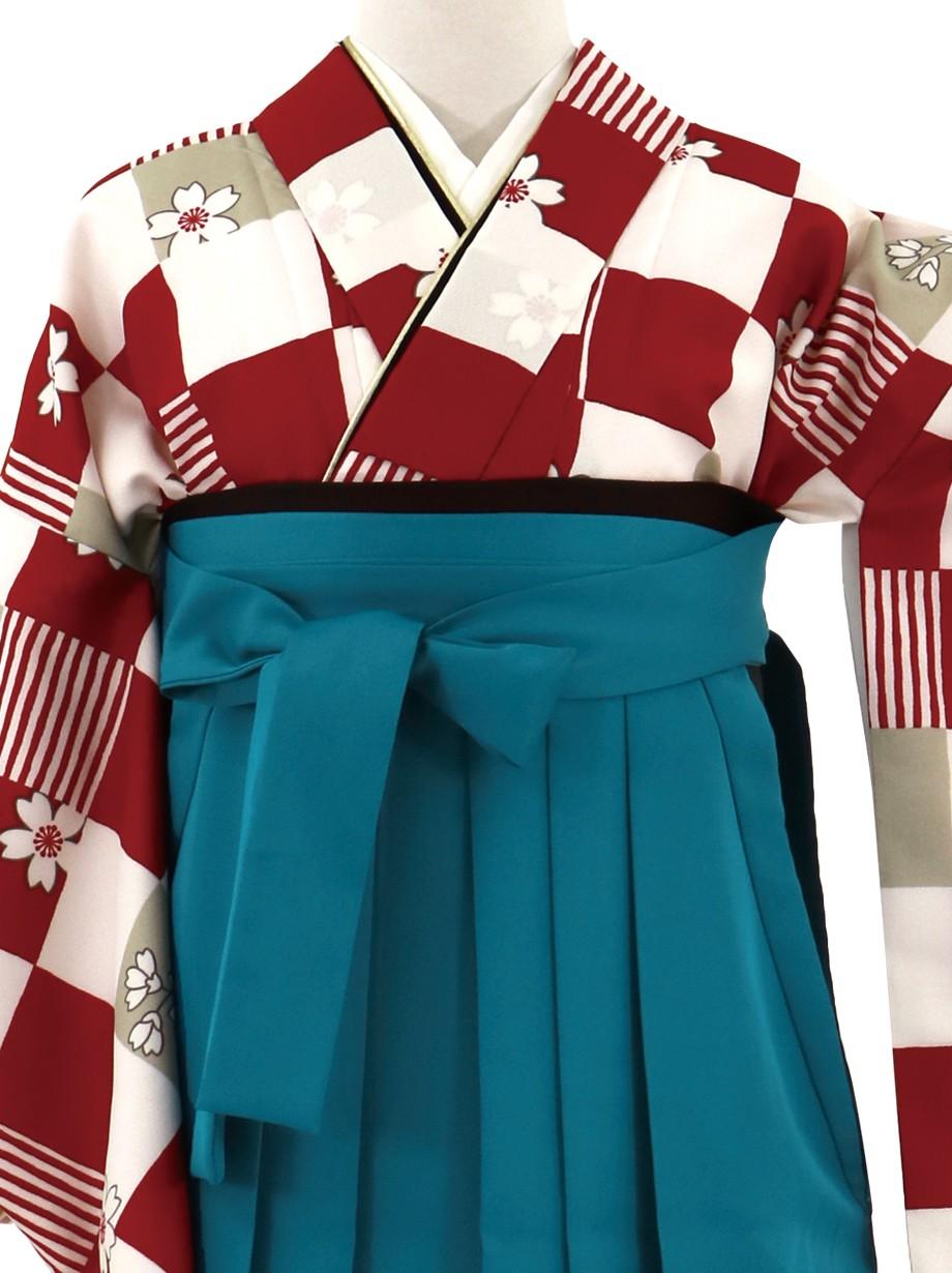 白と赤の市松に桜、青袴(無地)(二尺袖)/卒業式