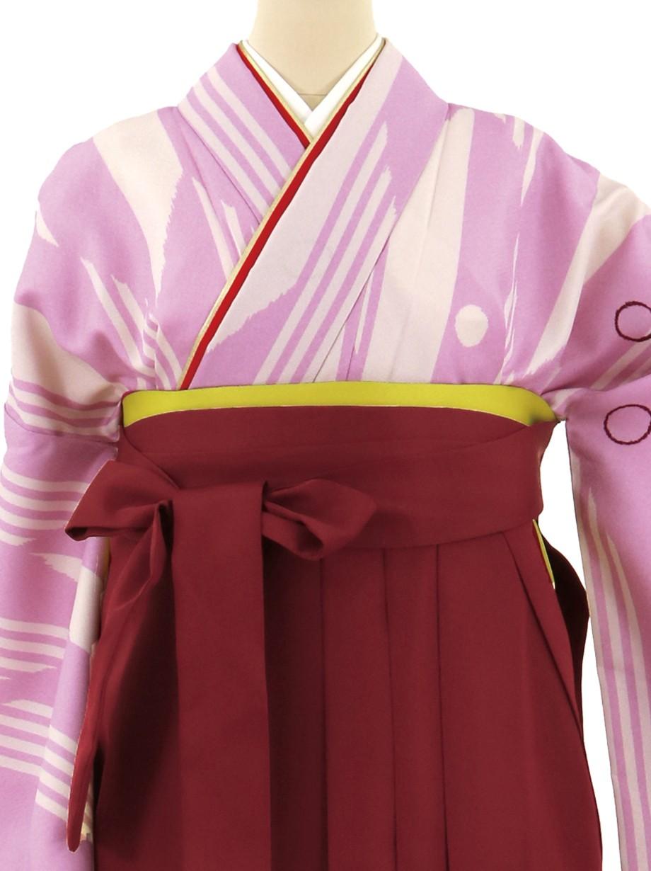 薄紫地に矢羽文、臙脂袴(無地)(二尺袖)/卒業式