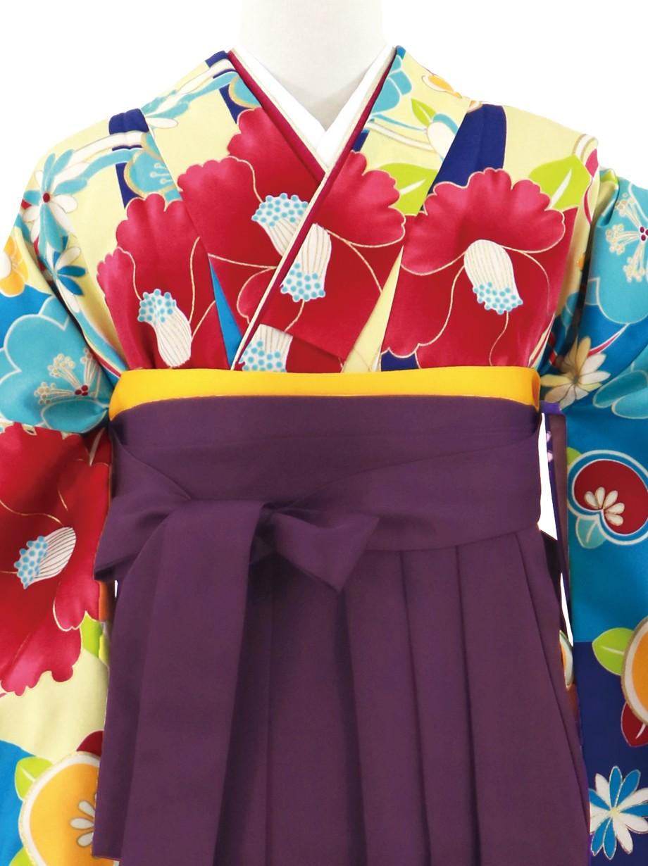 青と黄色の縞に椿、紫袴(無地)(二尺袖)/卒業式