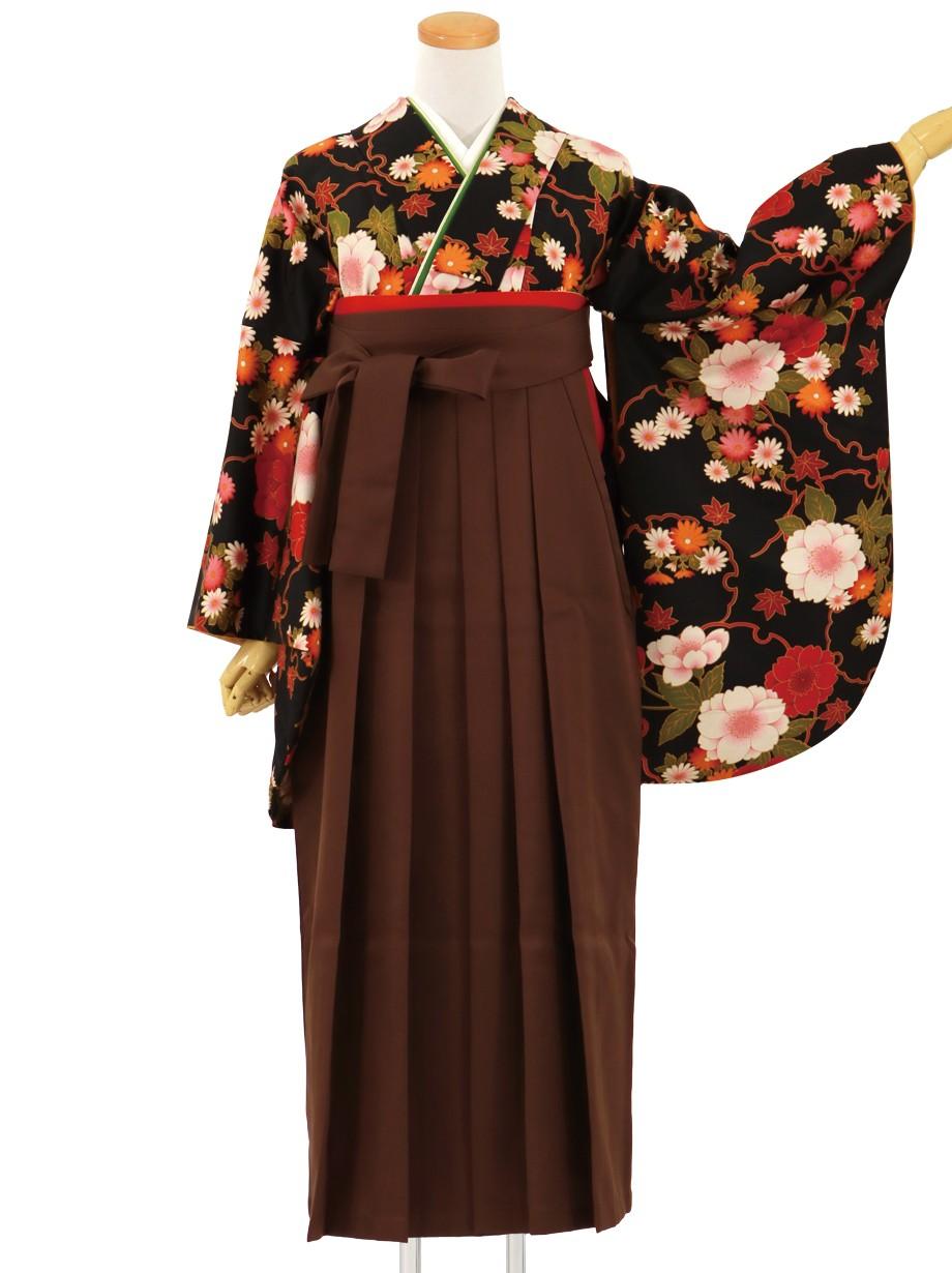 黒地に雪輪と四季花、茶色袴(無地)(二尺袖)/卒業式