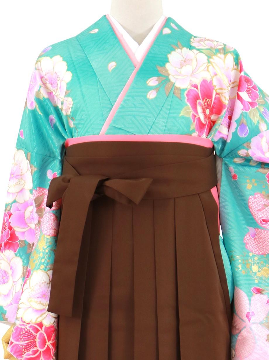 水色と桃色地に牡丹と桜、茶色袴(無地)(二尺袖)/卒業式