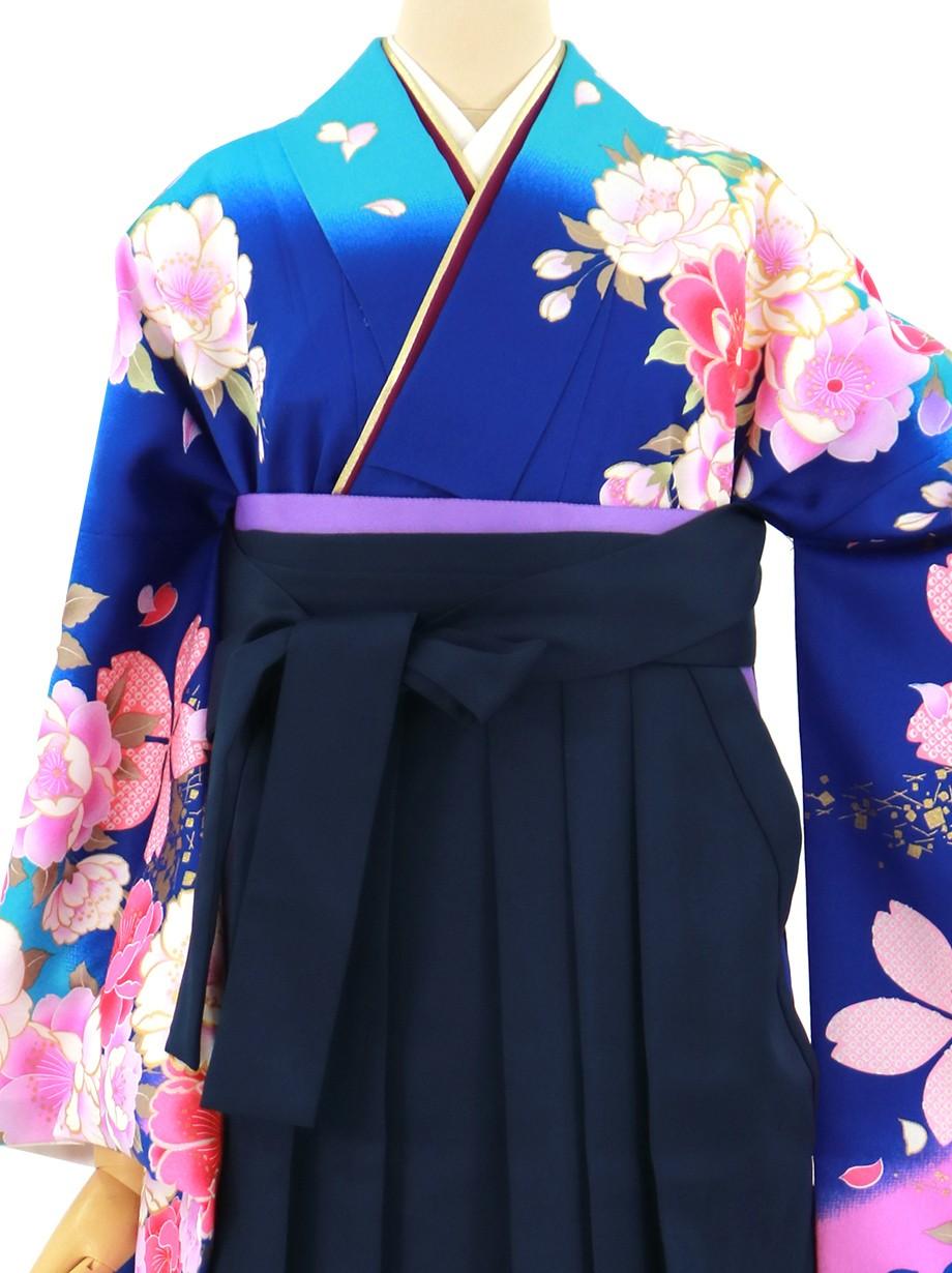 紺地に牡丹と桜、紺袴(無地)(二尺袖)/卒業式