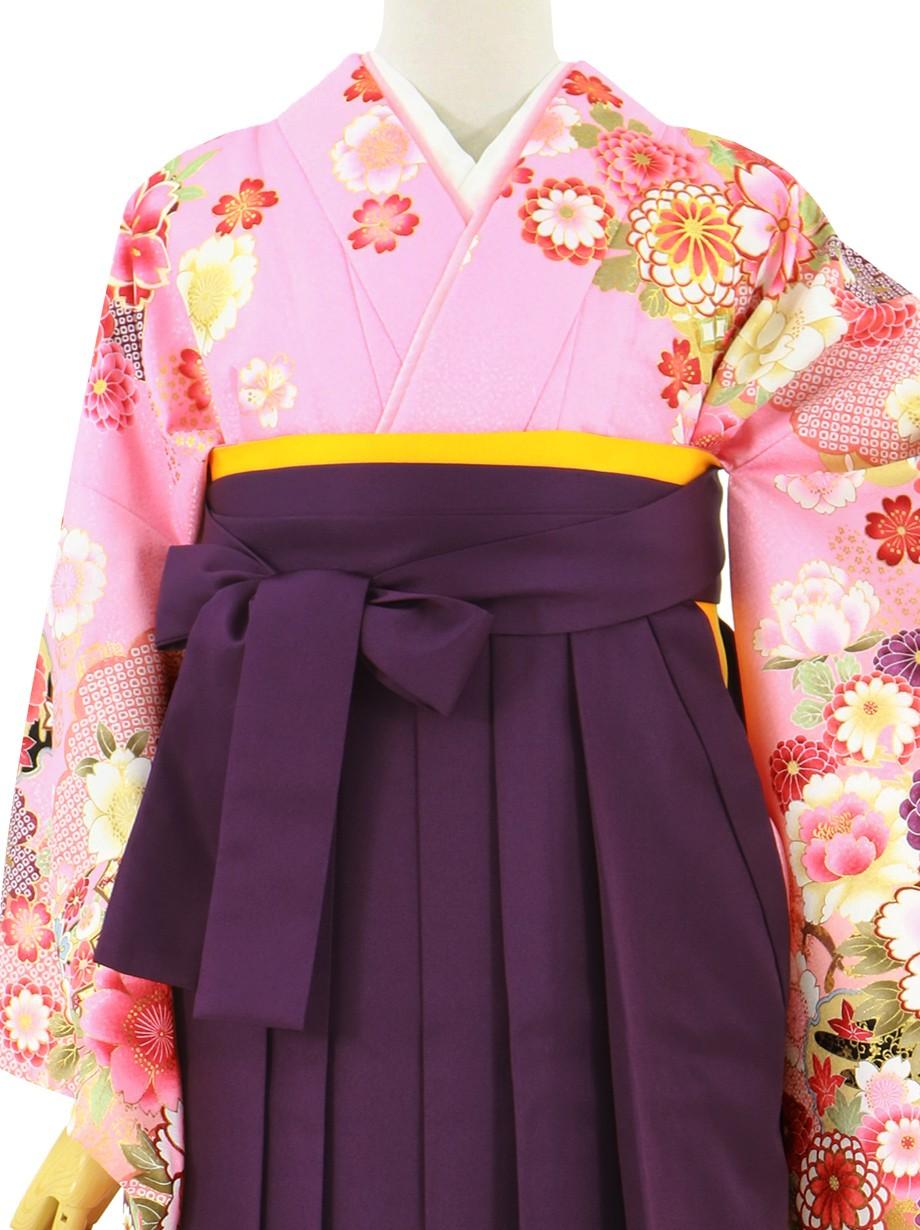 ピンク地に牡丹と御所車、紫袴(無地)(二尺袖)/卒業式