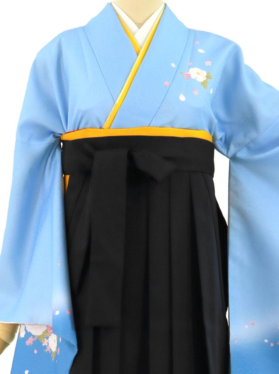 青地に牡丹・黒袴(無地)(二尺袖)/卒業式(オリジナルデザイン)