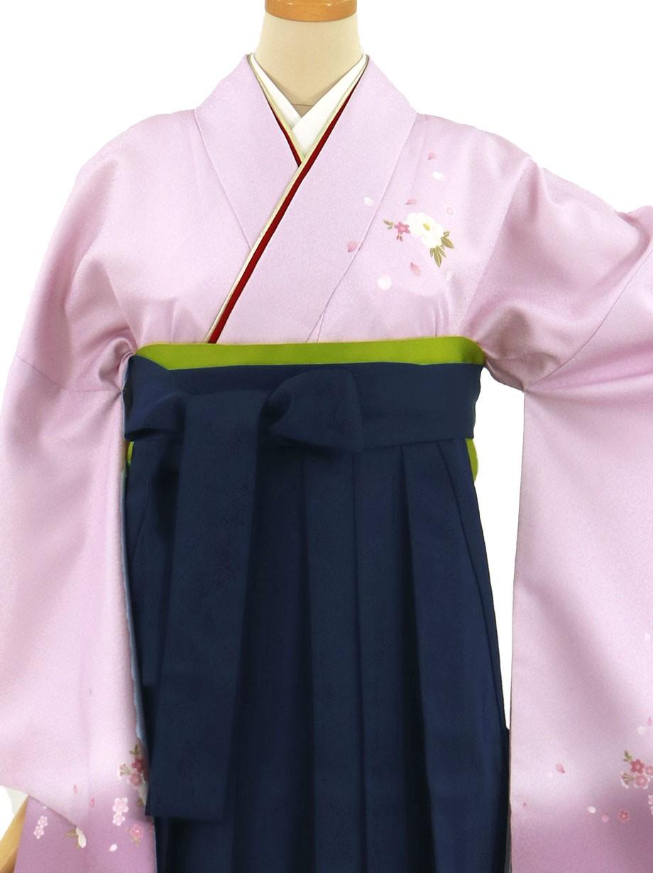 藤色地に牡丹・紺袴(無地)(二尺袖)/卒業式(オリジナルデザイン)