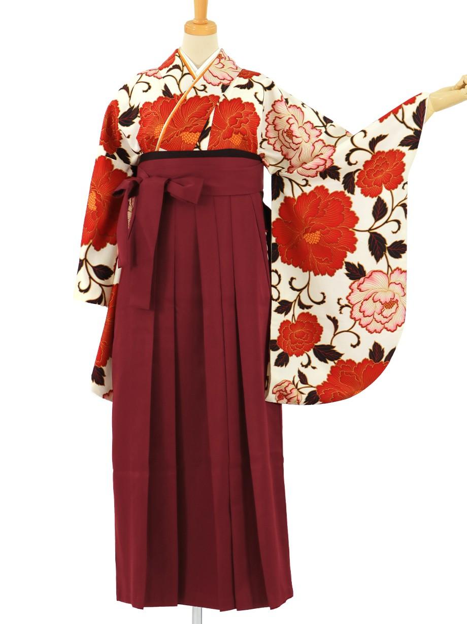 白地に赤の牡丹、臙脂袴(無地)(二尺袖)/卒業式