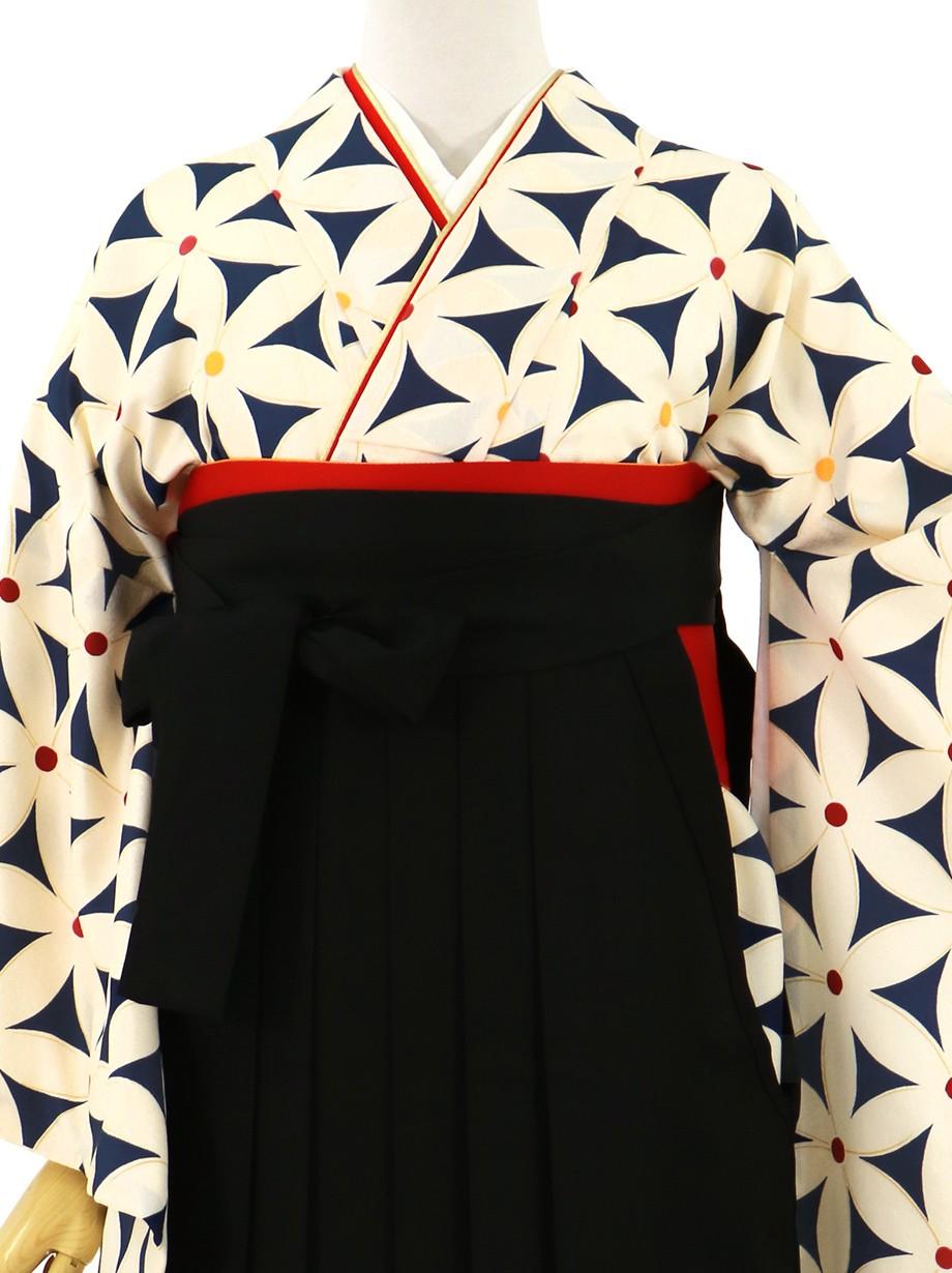 紺地に花模様、黒袴(無地)(二尺袖)/卒業式