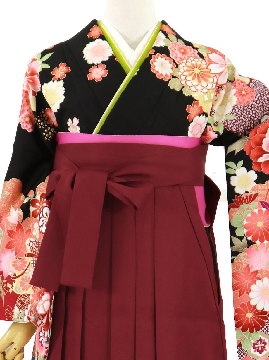 黒地に貝桶と四季花、臙脂袴(無地)(二尺袖)/卒業式*