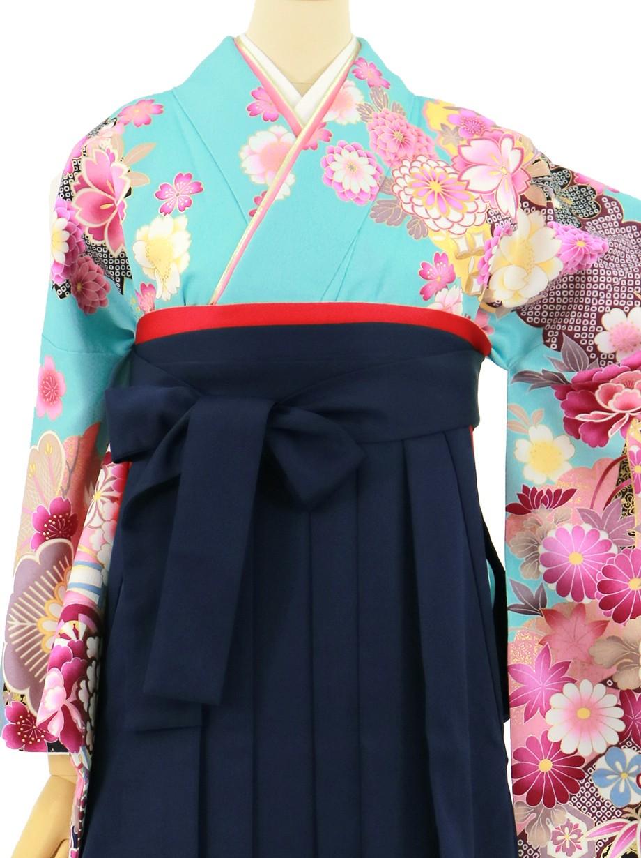 水色地に貝桶と四季花、紺袴(無地)(二尺袖)/卒業式*