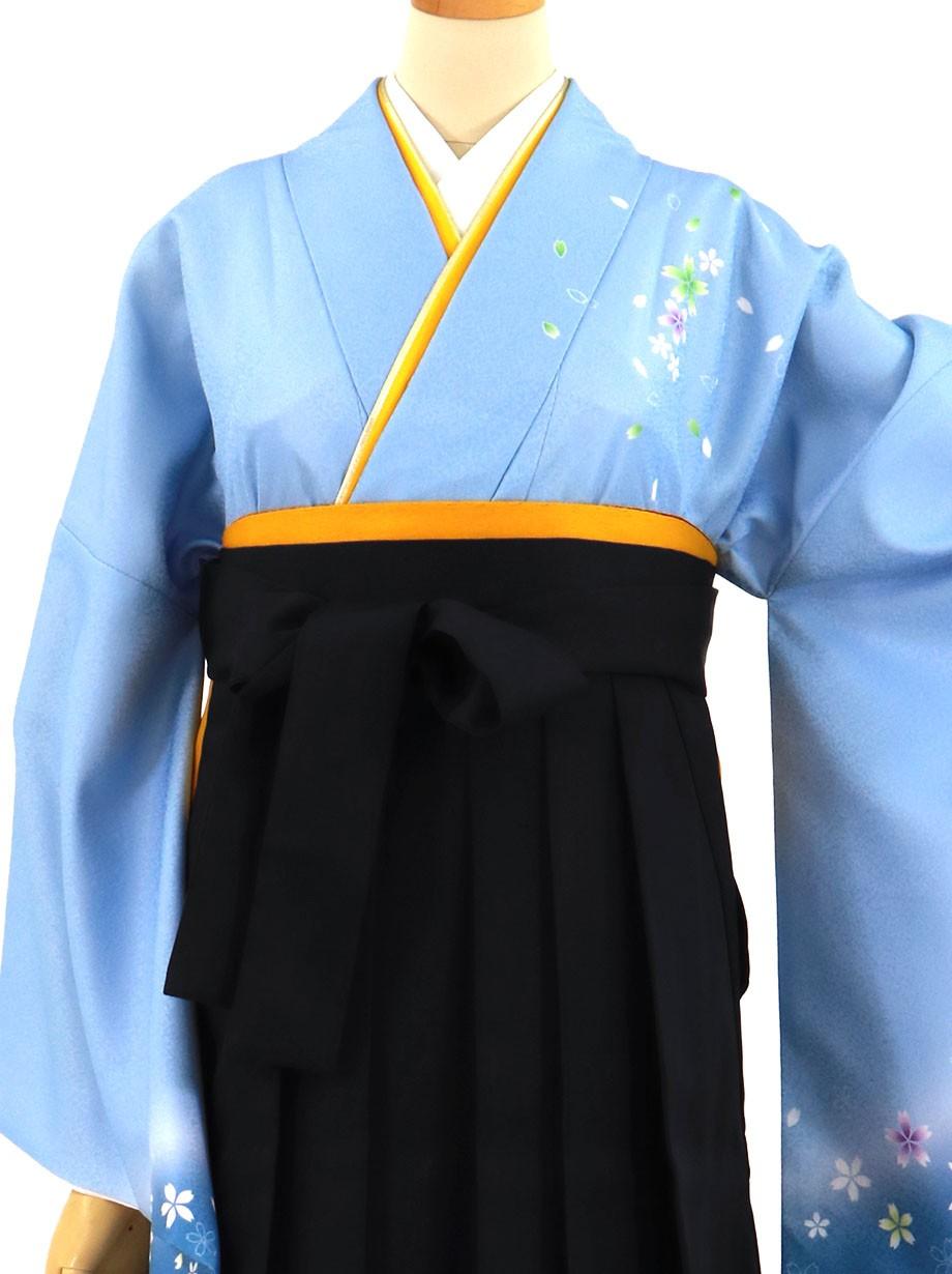 青地に桜・黒袴(無地)(二尺袖)/卒業式(オリジナルデザイン)*