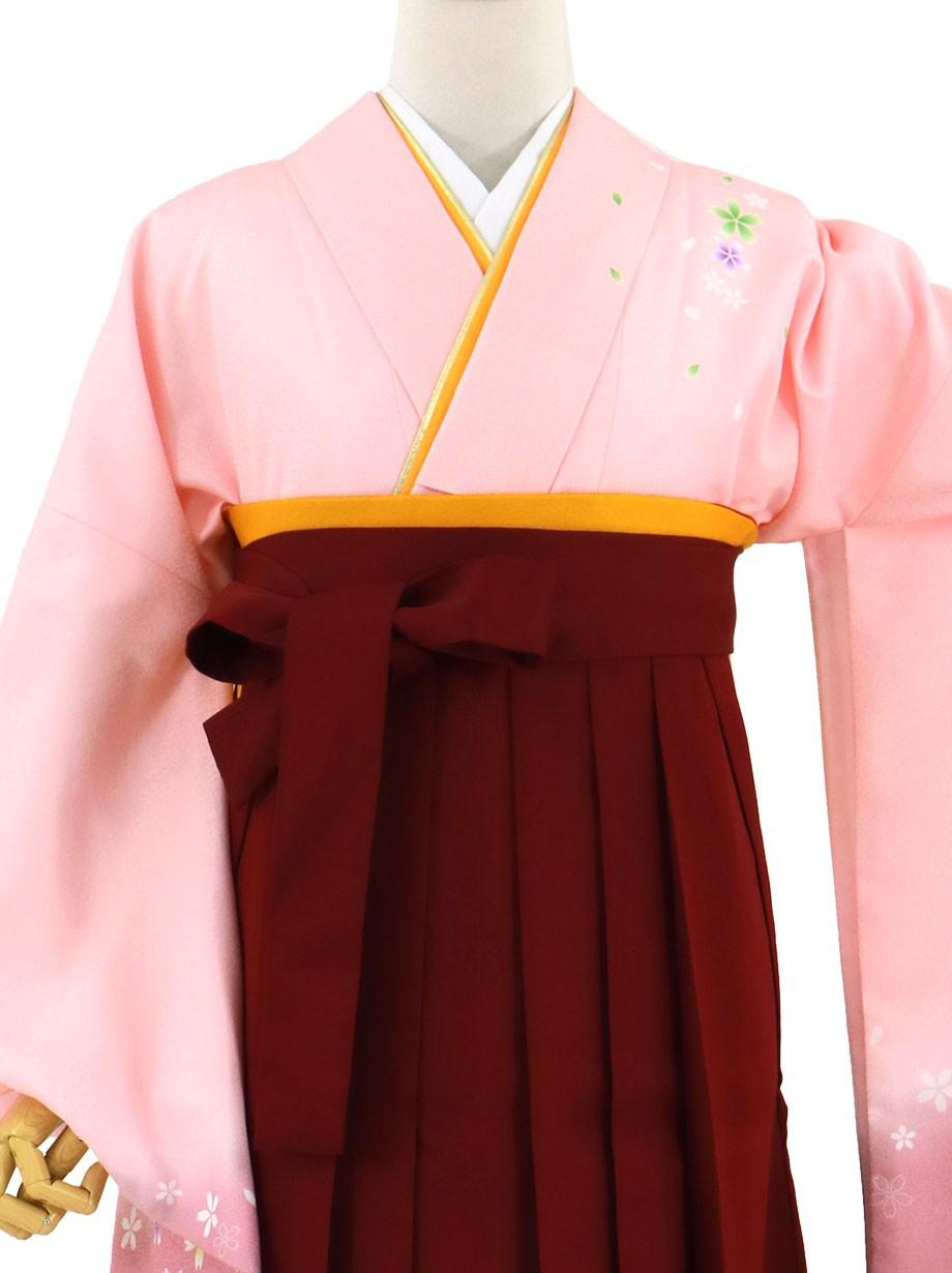ピンク地に桜・臙脂袴(無地)(二尺袖)/卒業式(オリジナルデザイン)*