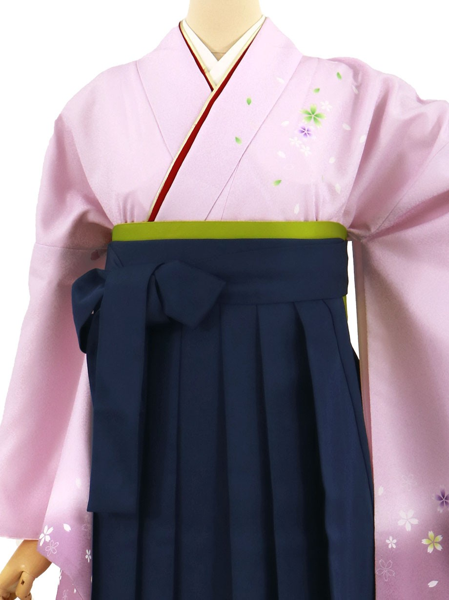 藤色地に桜・紺袴(無地)(二尺袖)/卒業式(オリジナルデザイン)*