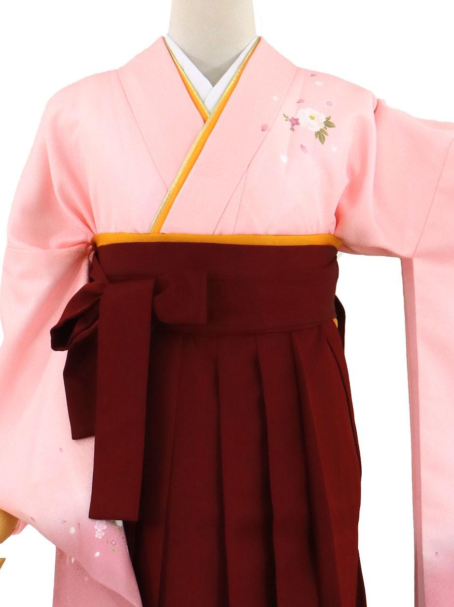 ピンク地に牡丹・臙脂袴(無地)(二尺袖)/卒業式(オリジナルデザイン)*