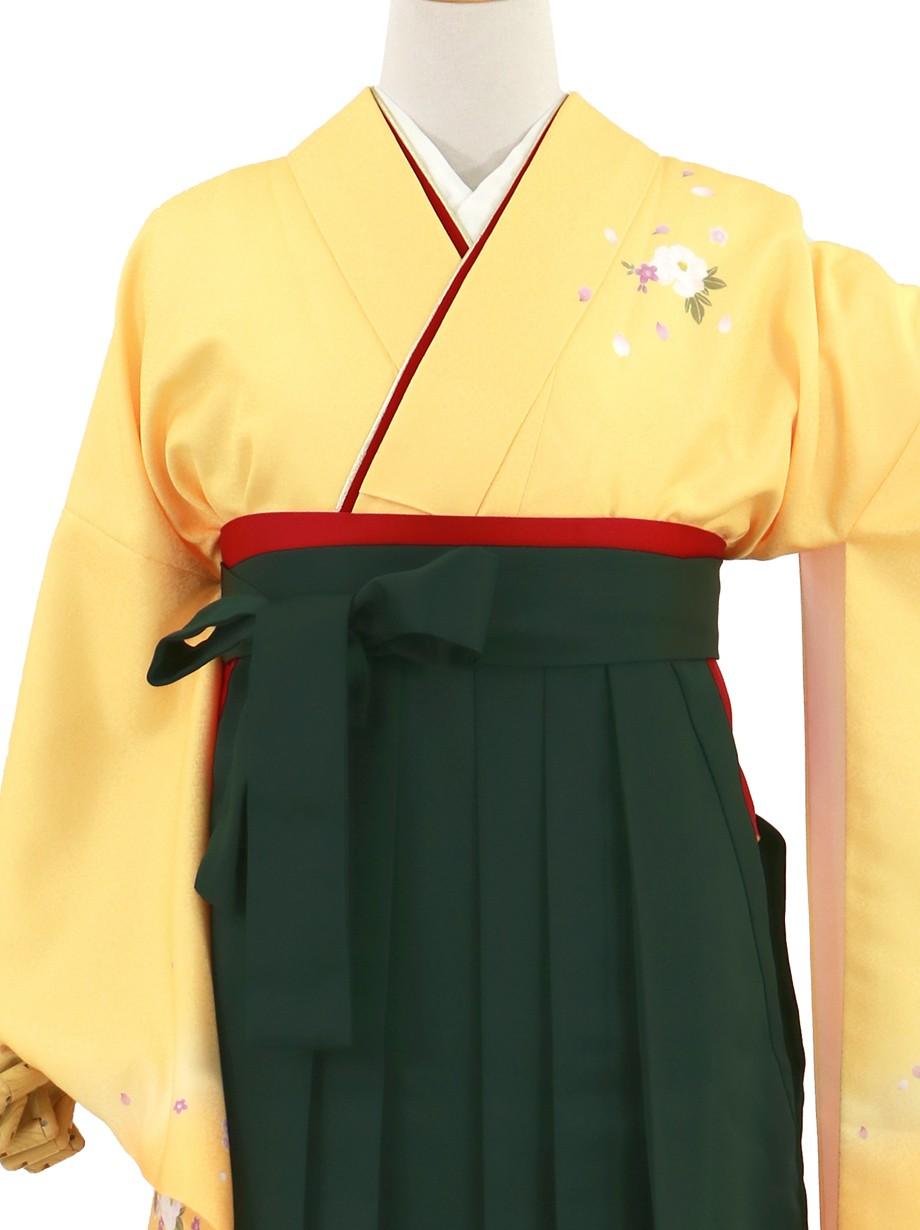黄色地に牡丹・深緑袴(無地)(二尺袖)/卒業式(オリジナルデザイン)*