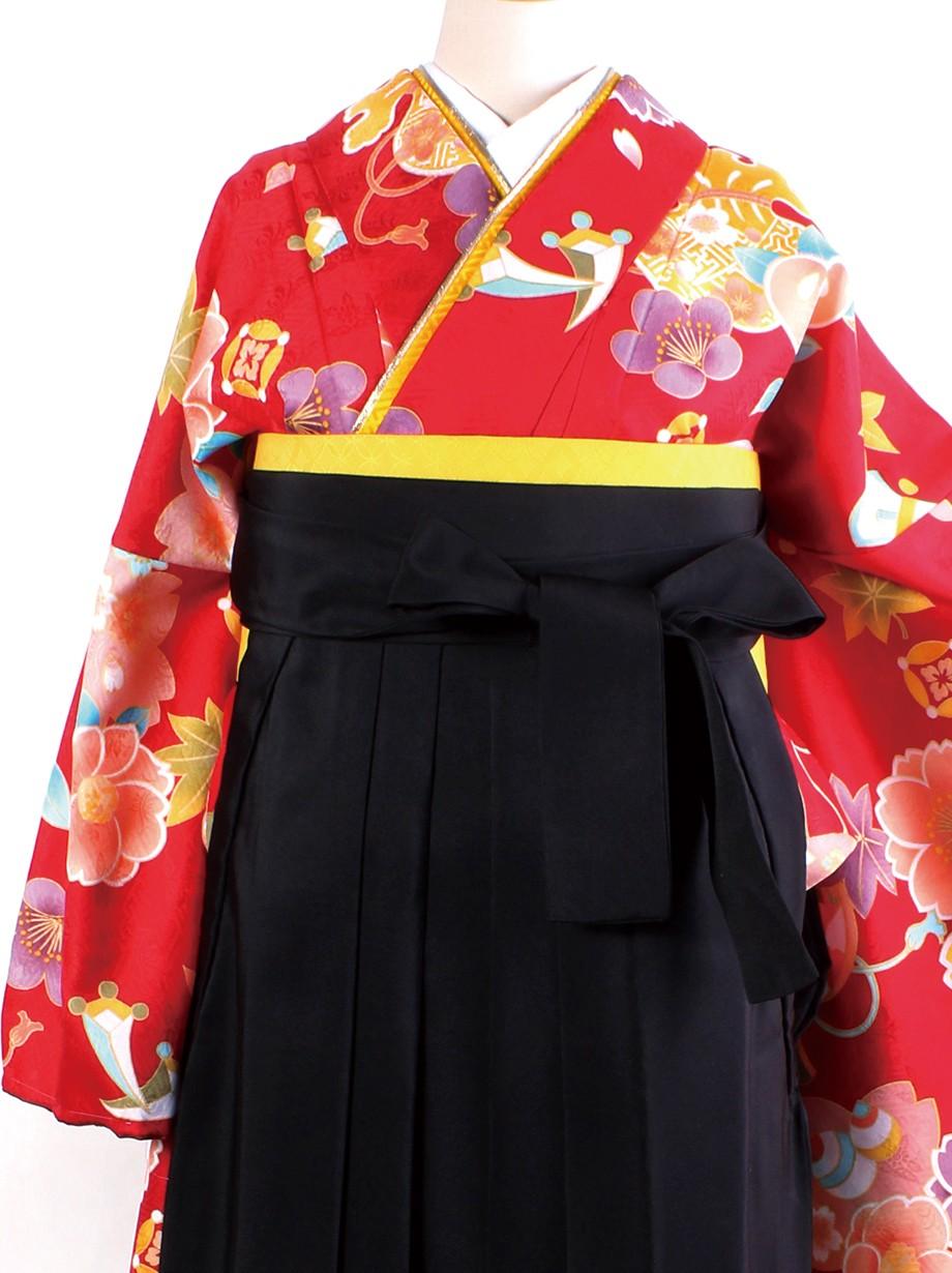 赤地に桜と宝尽くし・黒袴(二尺袖)/卒業式**