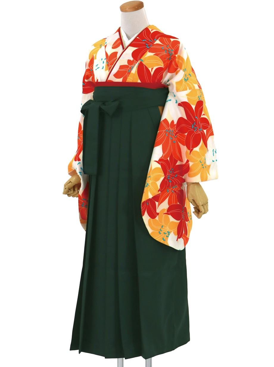 白地に紅白、山吹色の百合づくし・深緑袴(無地)(二尺袖)/卒業式*