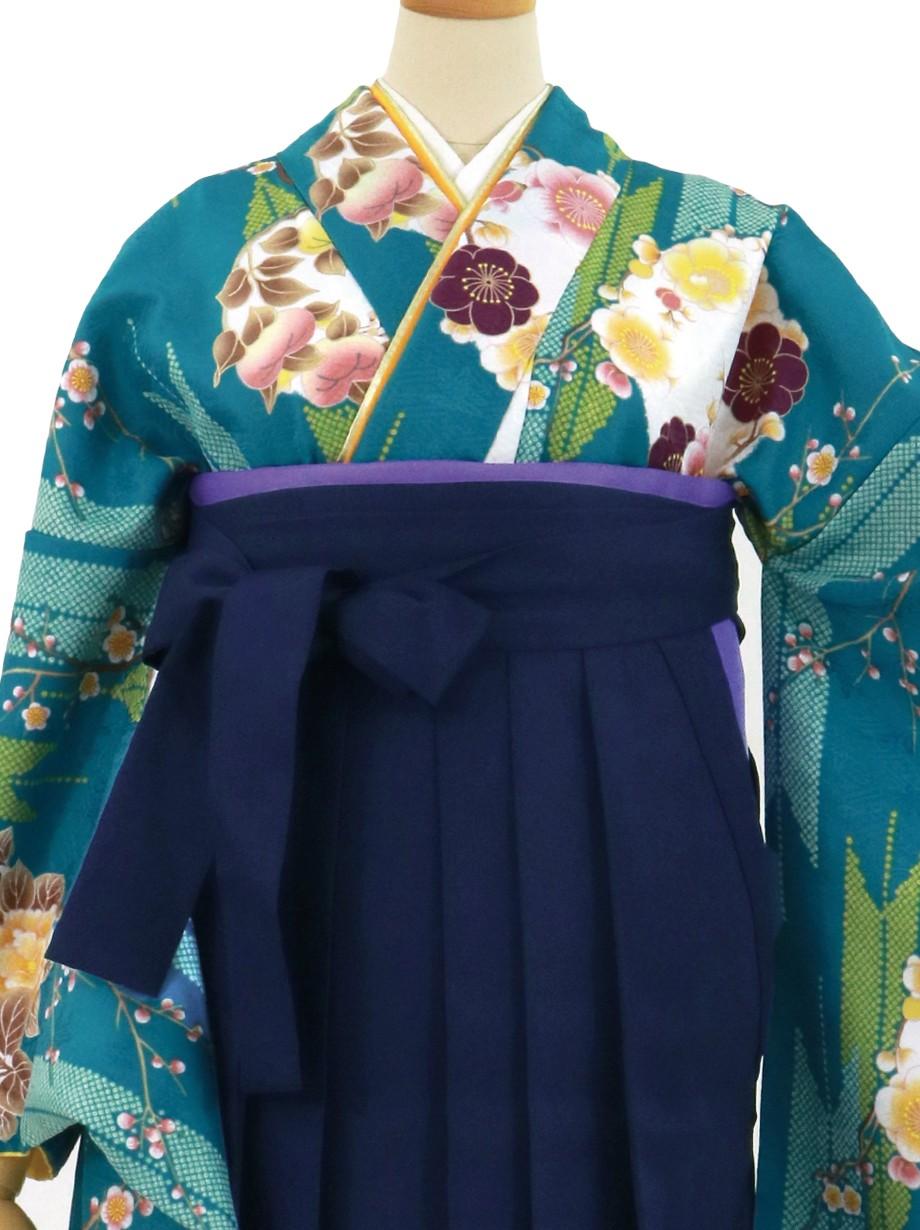 ブルー地に矢羽と花の丸文、紺袴(無地)(二尺袖)/卒業式