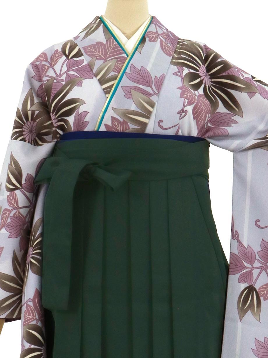 グレー地に花紋・深緑袴(無地)(二尺袖)/卒業式*