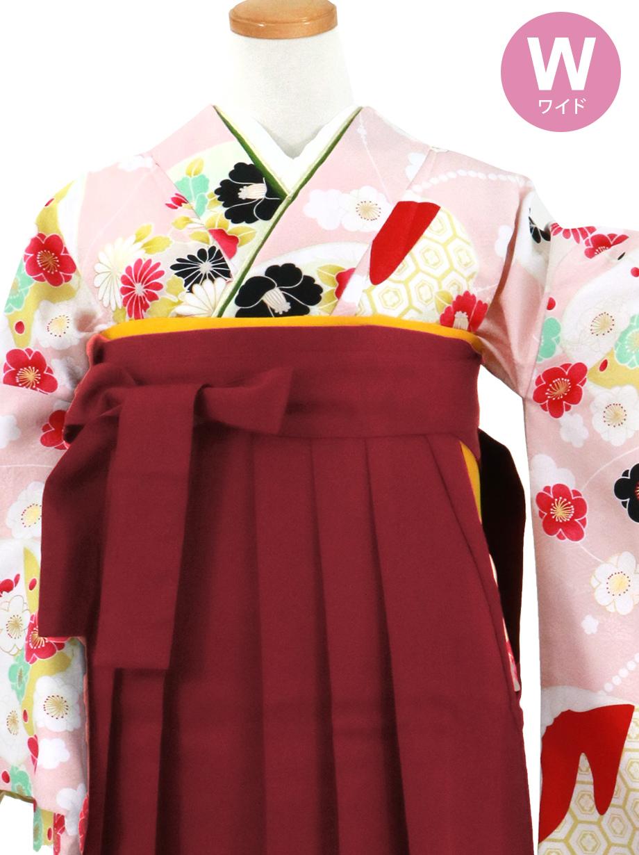 薄ピンク地に貝合わせと花、臙脂袴(無地)(二尺袖)ワイドサイズ/卒業式