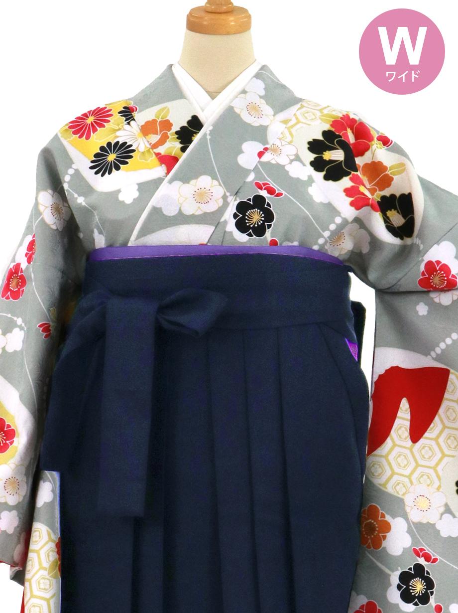 グレー地に貝合わせと花、紺袴(無地)(二尺袖)ワイドサイズ/卒業式