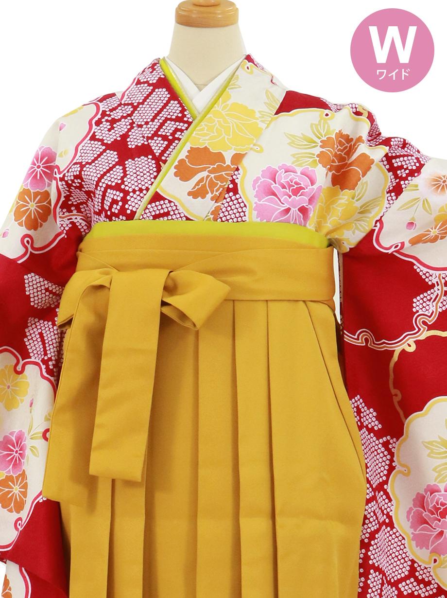 赤地に雪輪と牡丹、マスタード袴(無地)(二尺袖)ワイドサイズ/卒業式