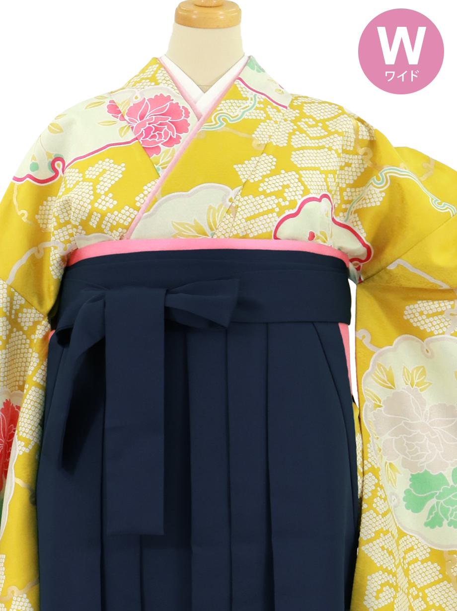 黄色地に雪輪と牡丹、紺袴(無地)(二尺袖)ワイドサイズ/卒業式