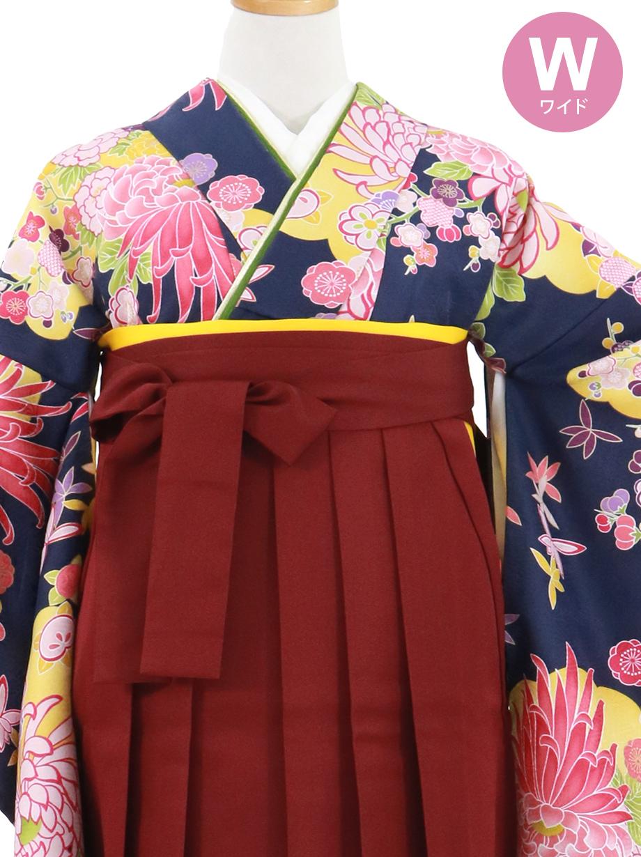 紺地に菊と雲取り、臙脂袴(無地)(二尺袖)ワイドサイズ/卒業式