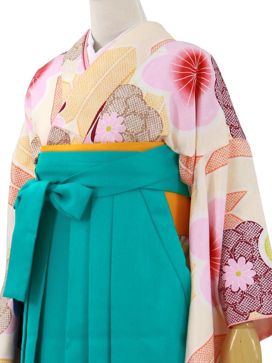 ベージュ地に花と矢羽、浅葱袴(無地)(二尺袖)/卒業式