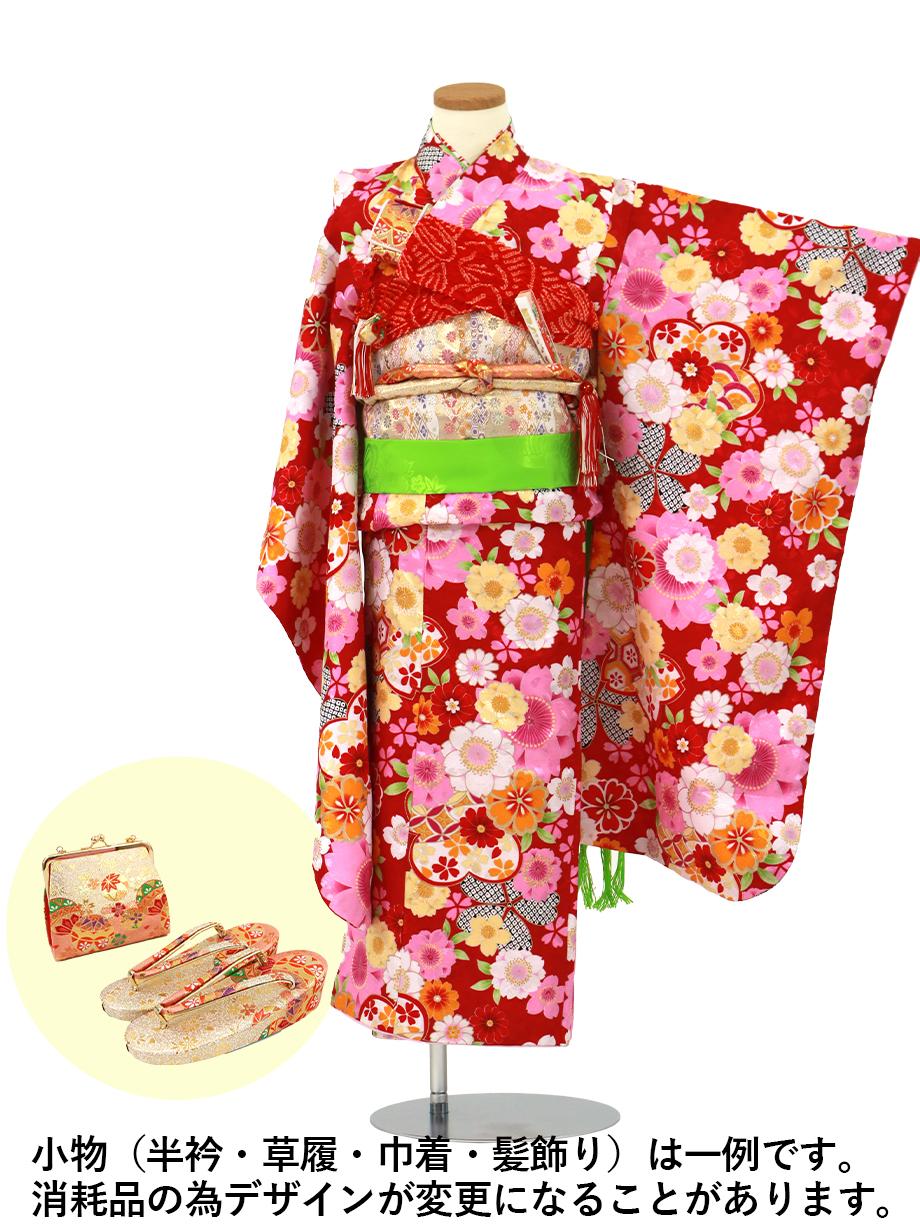 紅色地に桜の着物/七五三・七歳女の子