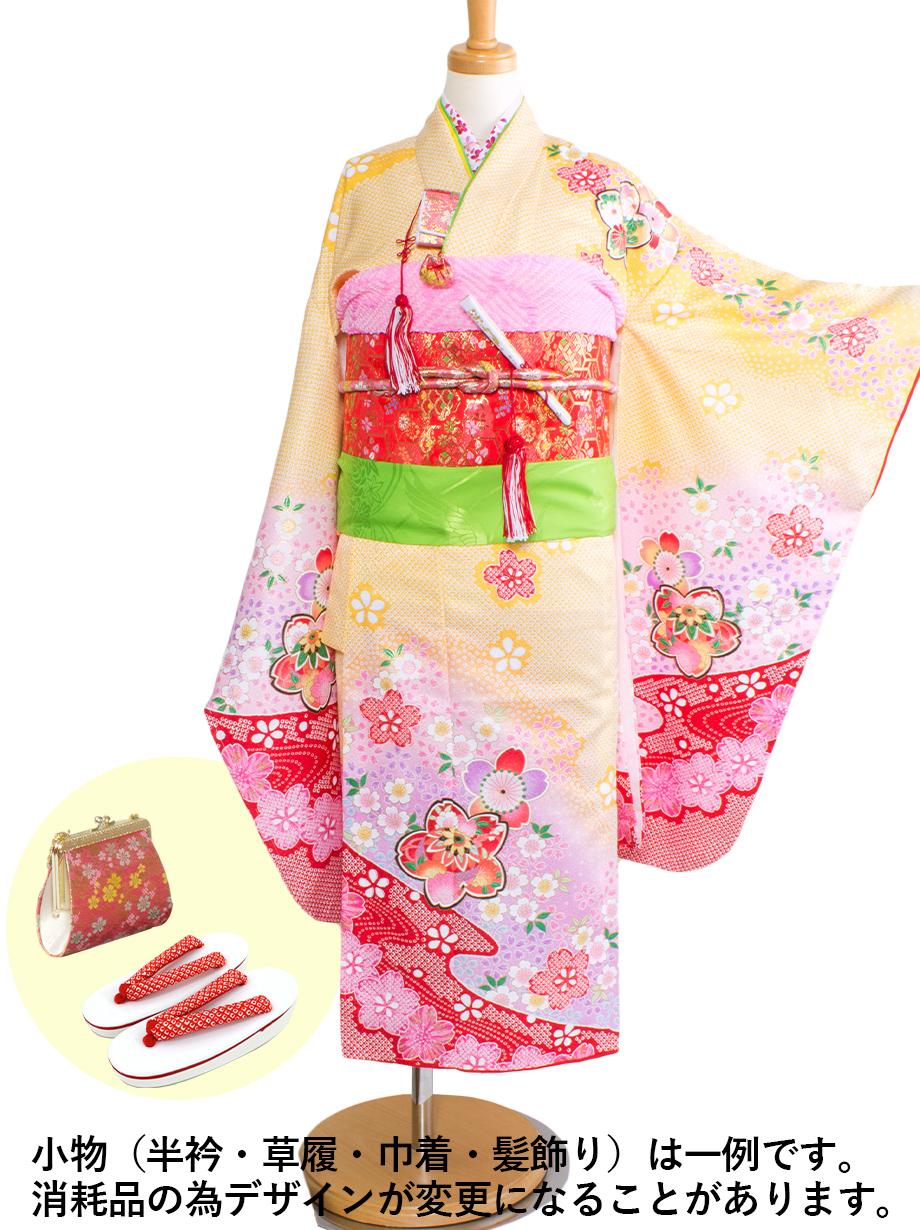 黄色に桜と手鞠の着物/七五三・七歳女の子