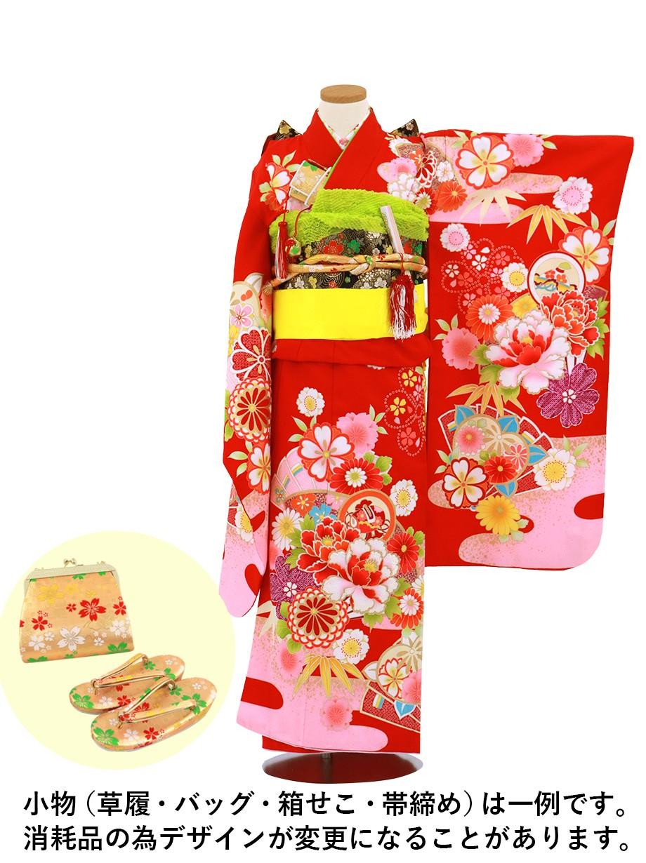 赤地に花と扇、雲取りの着物/七五三・七歳女の子
