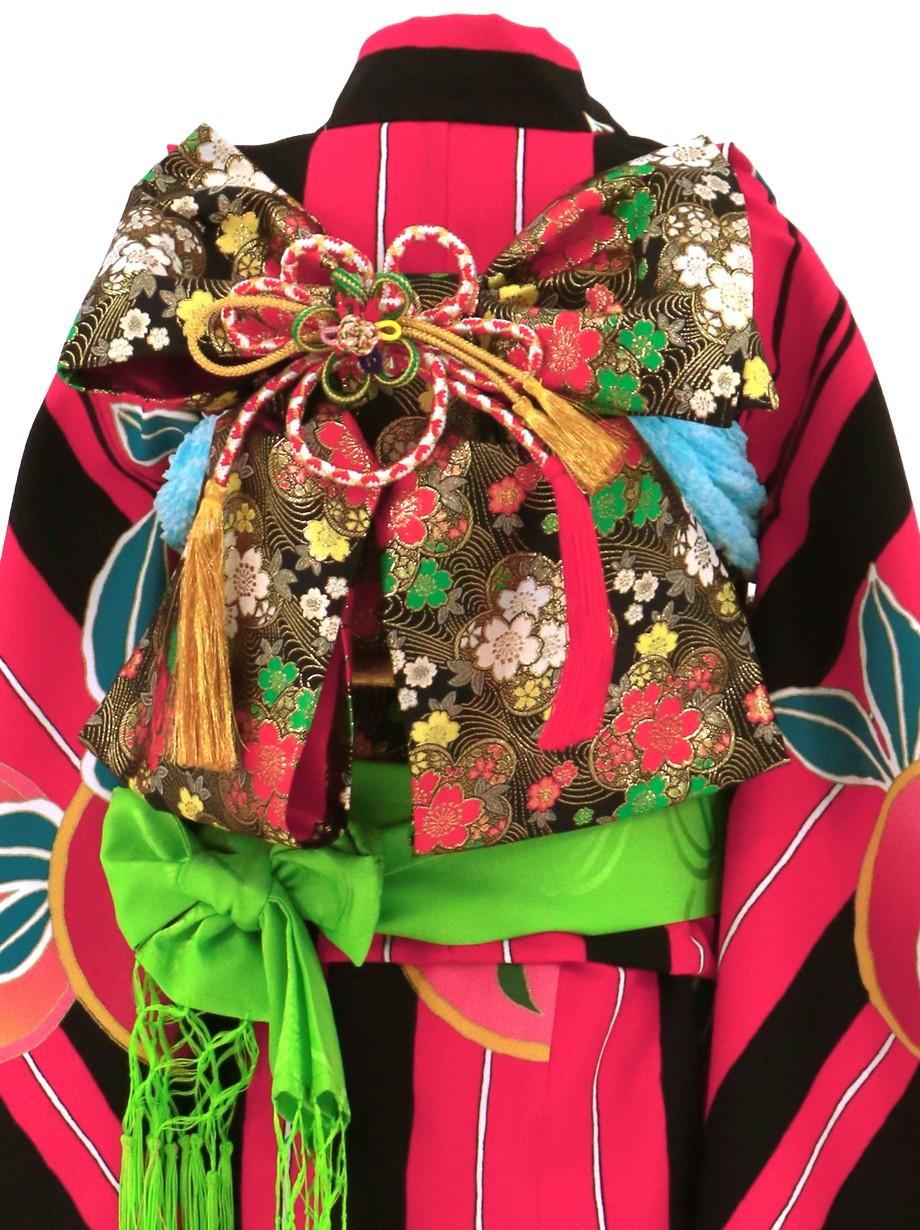 濃いピンクに黒の縞、橘紋の着物/七五三・七歳女の子